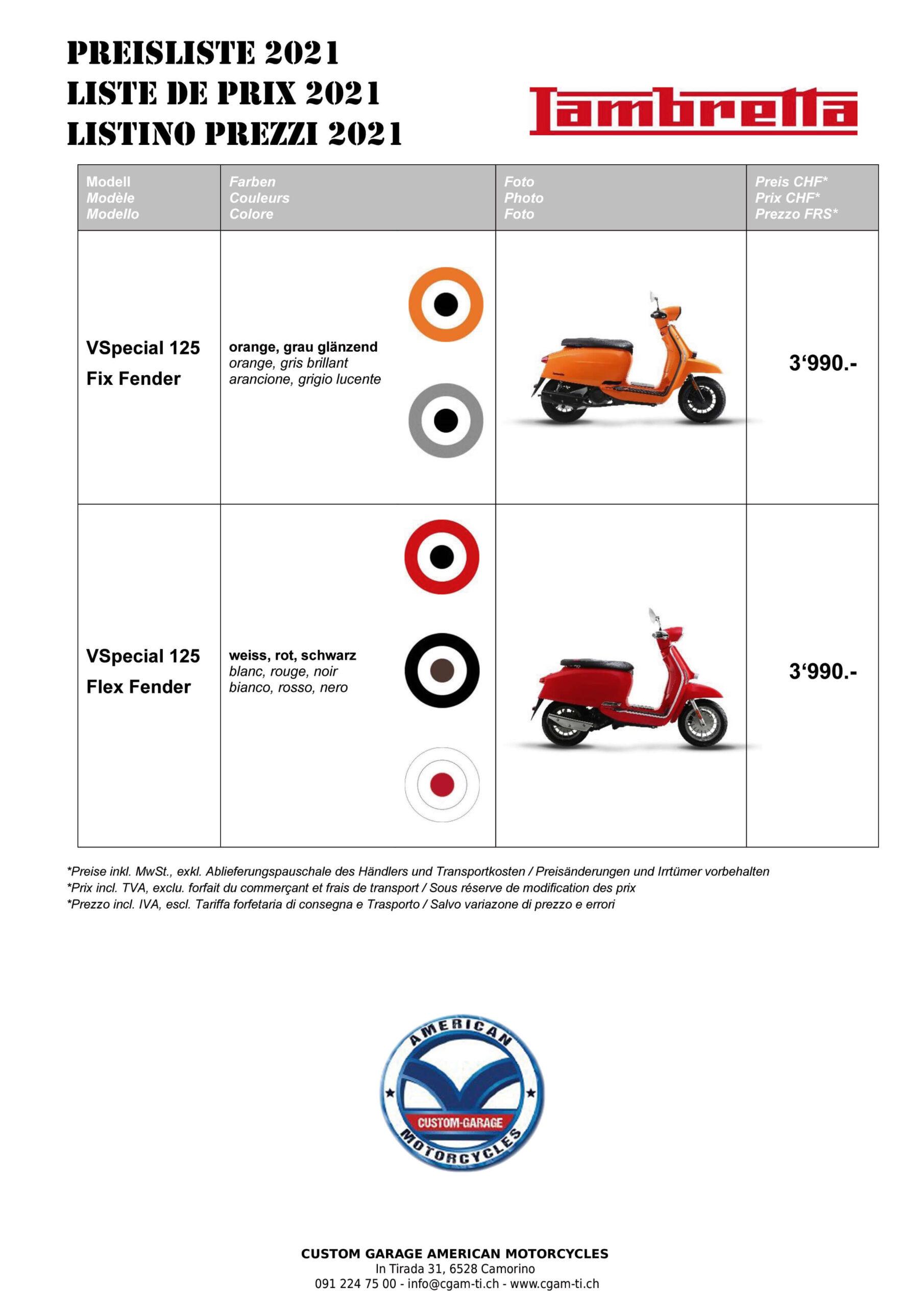 Listino Prezzi 2021 Lambretta